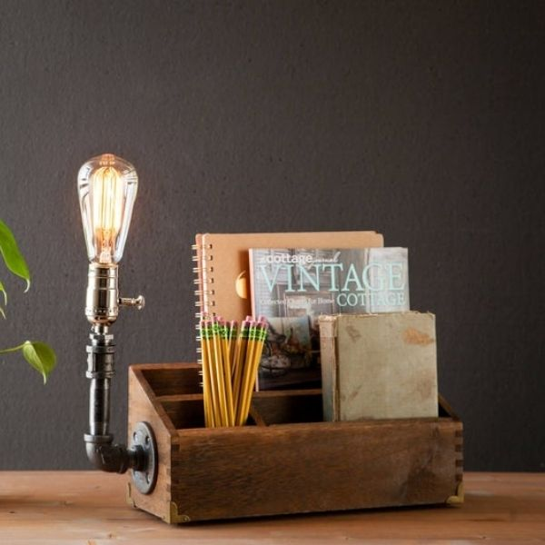 Rustic Desk Organizer & Lamp