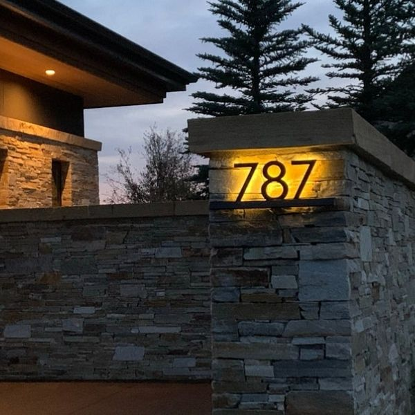 Solar Backlit House Numbers Sign
